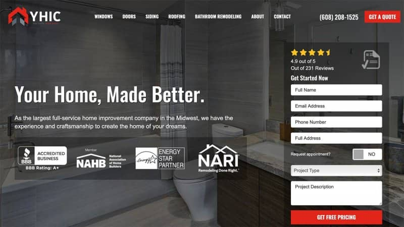 Your Home Improvement Company's home page (Photo by https://www.yourhomeimprovementco.com/)