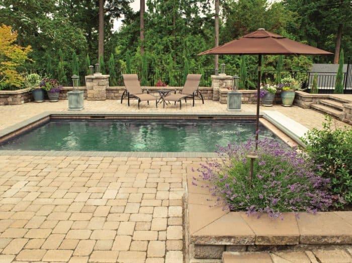 Small pool on brick patio