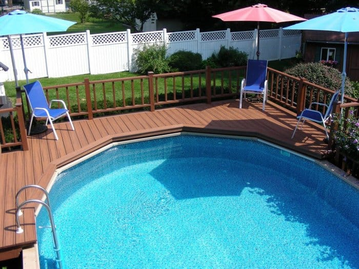 Above-ground pool with composite deck