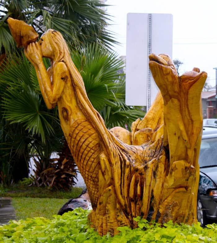 Tree stump mermaid artwork