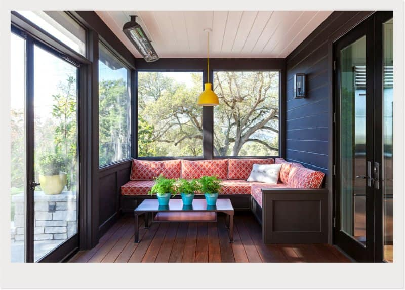 bench area sunroom (Photo by © Dotter Solar Architect)