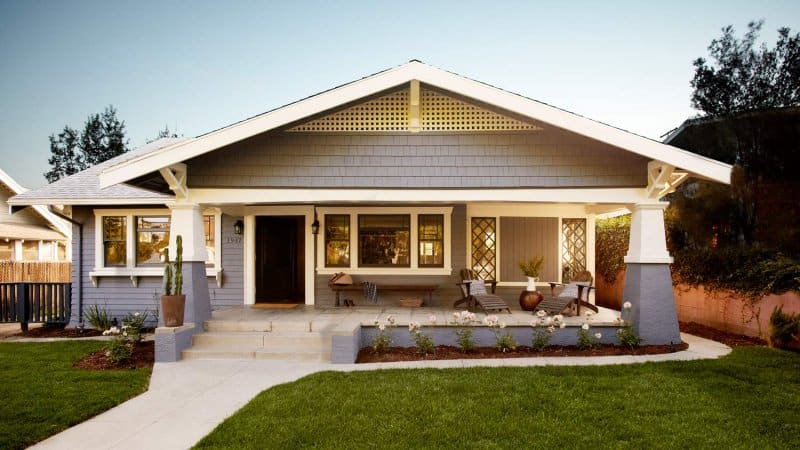 The exterior of a craftsman house at sunset (Photo by Joe Schmelzer/Corbis Documentary via Getty Images)