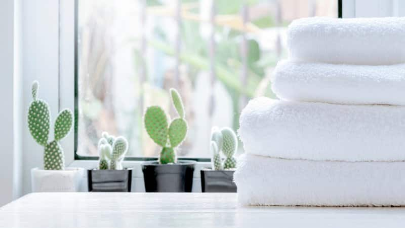Stack of folded clean white towels (Photo by nampix / Shutterstock.com)