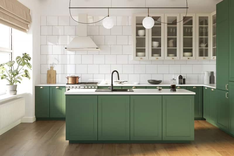green and white kitchen design (Photo by Michael - stock.adobe.com)