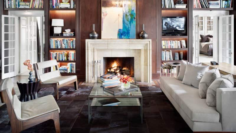 A living room with lots of books and a fireplace  (Photo by Michael Robinson/Corbis Documentary via Getty Images)