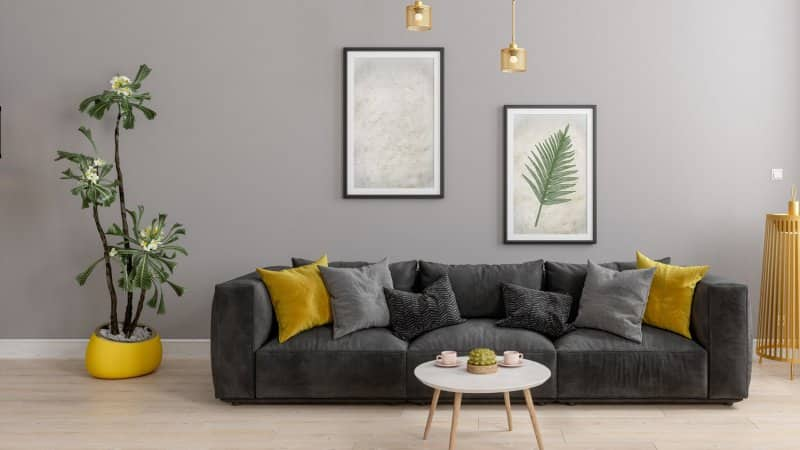 A living room with a gray wall and a gray sofa (Photo by onurdongel/iStock / Getty Images Plus via Getty Images)