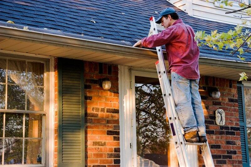man cleaning gutter on roof (Photo by gmcgill - stock.adobe.com)