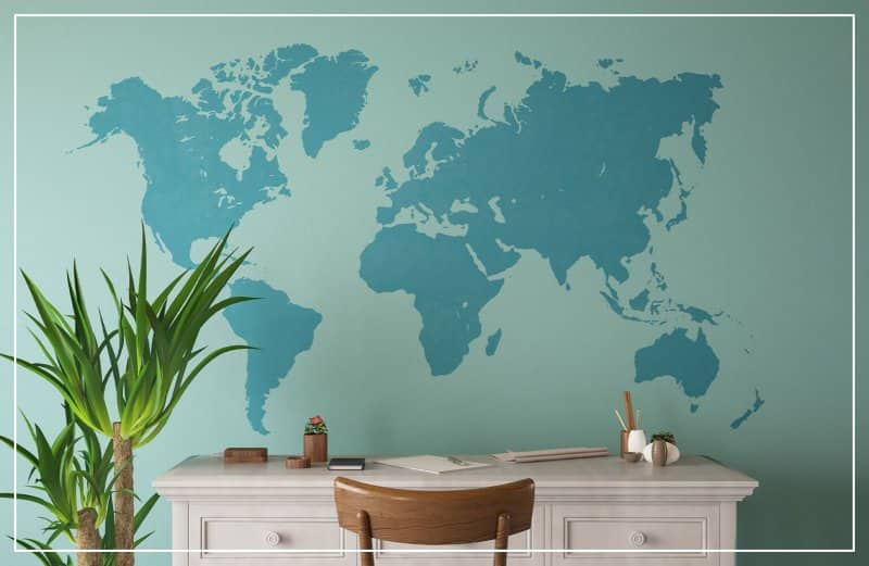 world map mural accent wall  (Photo by Asbe / iStock Getty Images Plus via Getty Images)