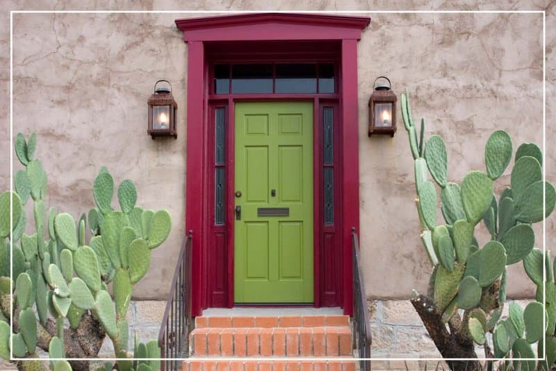 mint green door  (Photo by Vladone/iStock/Getty Images Plus via Getty Images)