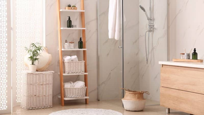 A modern bathroom with a shower stall and a decorative ladder (Photo by Liudmila Chernetska/iStock via Getty Images)