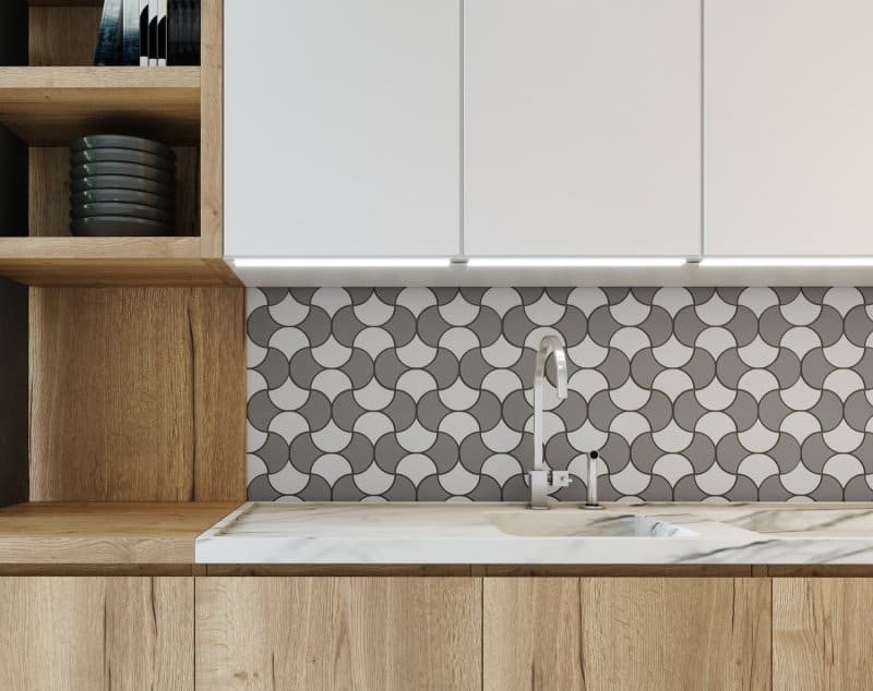 White and natural wood kitchen with a mosaic backsplash (Photo by Ivan - stock.adobe.com)