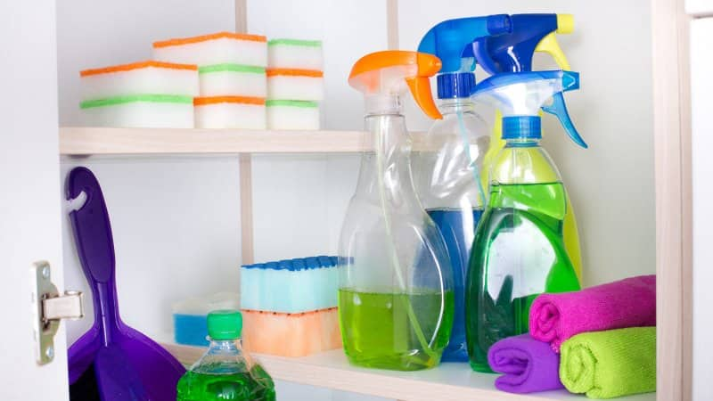 Organized cabinet with cleaning supplies (Photo by Jevtic / iStock / Getty Images Plus via Getty Images)