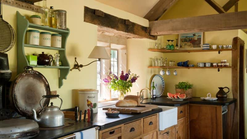 A rustic kitchen with wooden beams (Photo by Andreas von Einsiedel/Corbis Documentary via Getty Images)