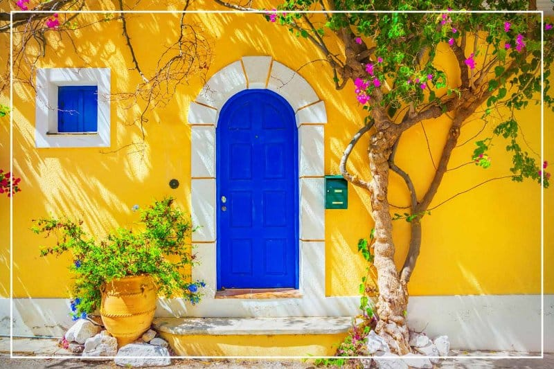 saturated blue color front door (Photo by Adisa/iStock/Getty Images Plus via Getty Images)