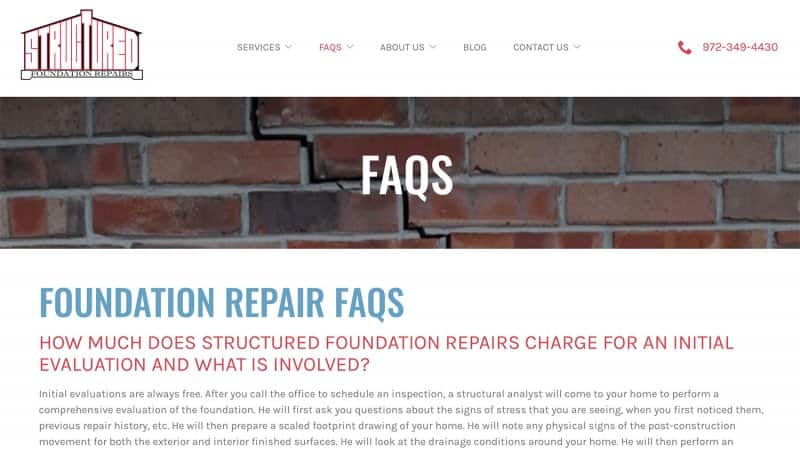 Structured Foundation Repairs' FAQ page (Photo by https://www.structuredfoundation.com/faqs/)