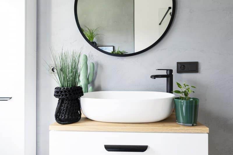 Small vessel sink with black faucet and green plants underneath a round black mirror (Photo by photosbysabkapl – stock.adobe.com)