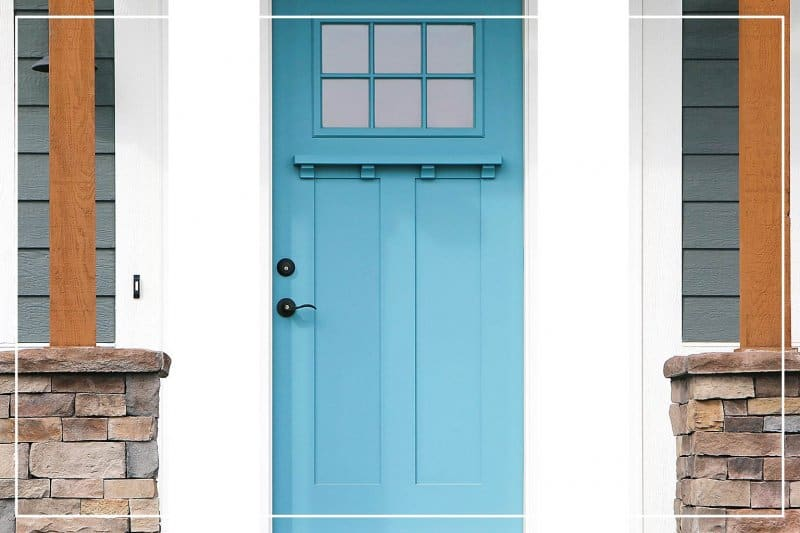 Turquoise paint color front door  (Photo by TriggerPhoto/iStock/Getty Images Plus via Getty Images)