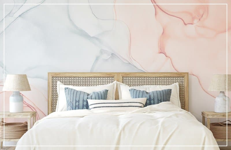 watercolor accent wall in bedroom (Photo by poligonchik / iStock Getty Images Plus via Getty Images)