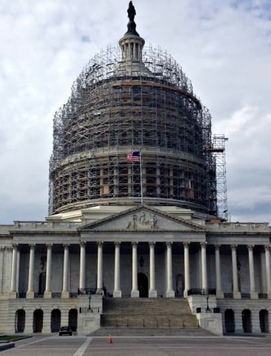 D.C. capitol dome with scaffolding under renovation