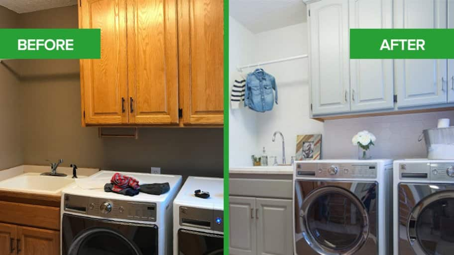Laundry room before and after the remodel