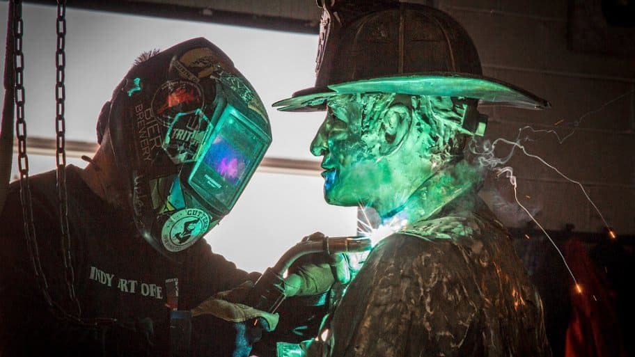 Ryan Feeney of Indy Art Forge completes bronze statue for Indianapolis Firefighters Museum