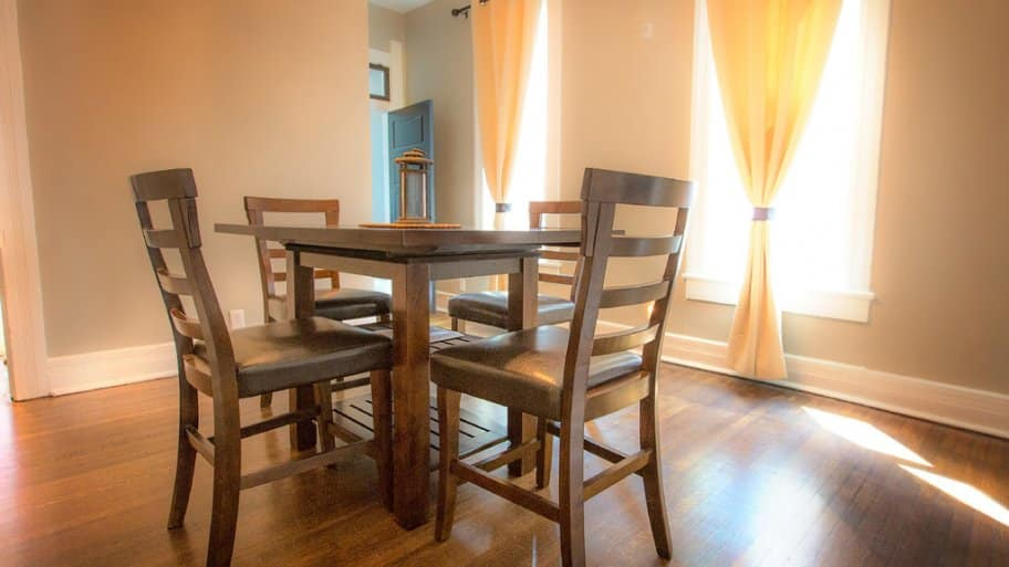 Dining room with hardwood floors in Herron-Morton home in Indianapolis