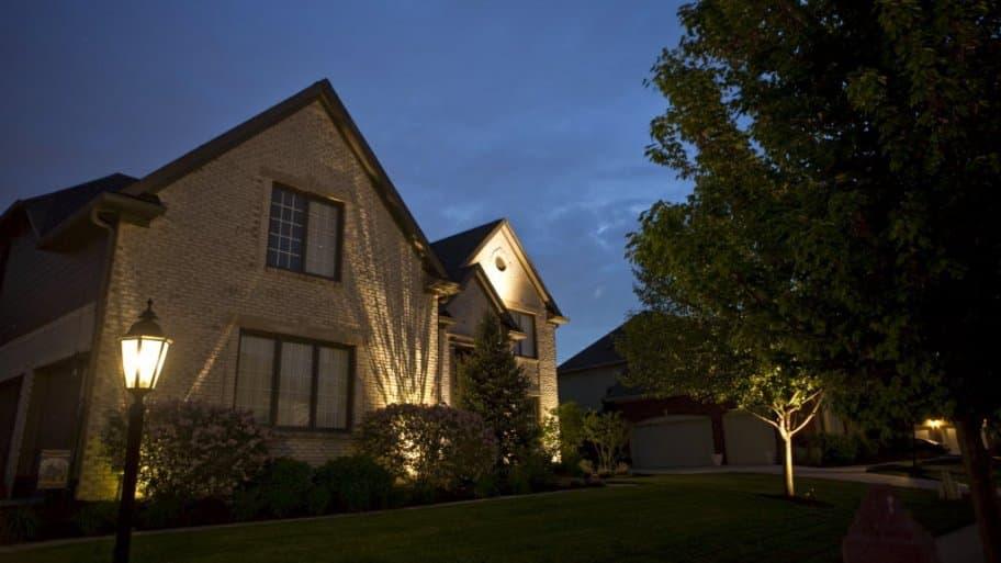 Outdoor lighting lamp post in front of home