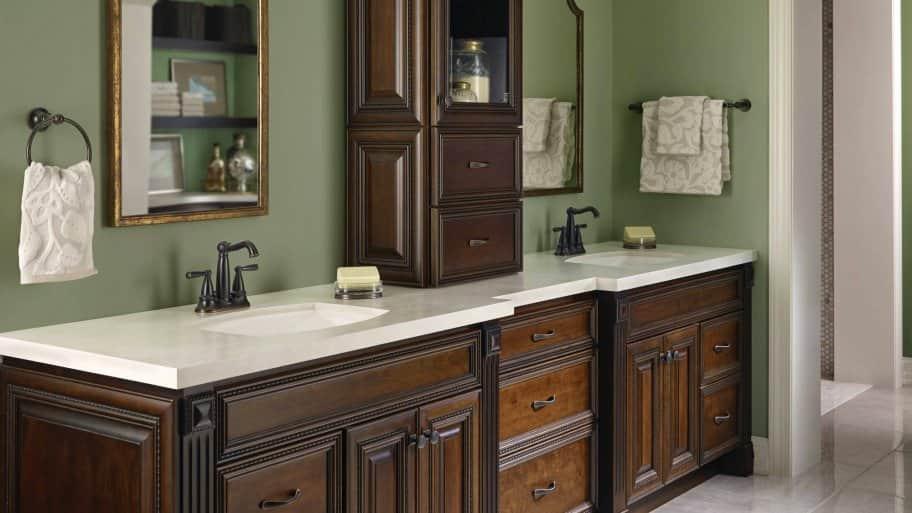 dark bathroom cabinets in bathroom