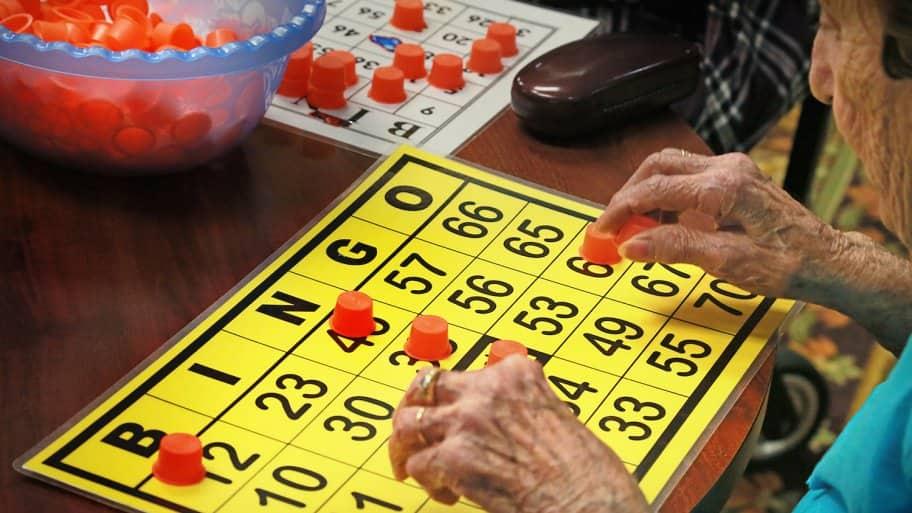 senior citizen playing bingo
