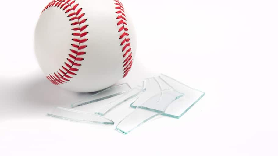 baseball with broken glass