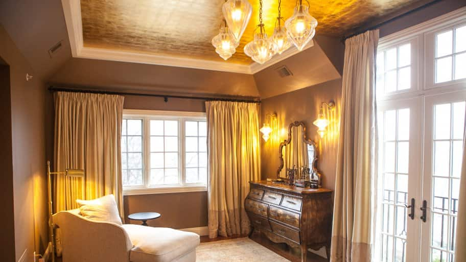 yellow lighting with brown painted walls