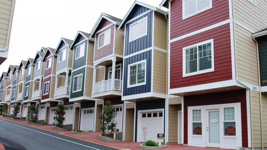 row of colorful townhowns (Photo by Photo courtesy of member Dawn W. of Stanwood, Washington)