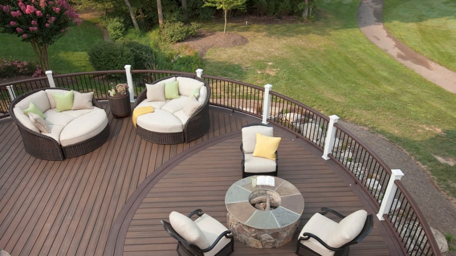 a composite deck with furniture