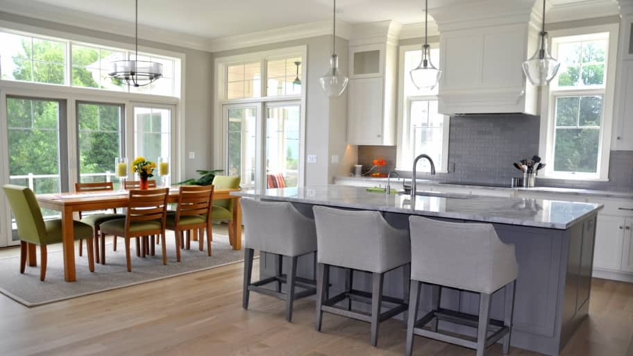 engineered hardwood flooring in beach house kitchen