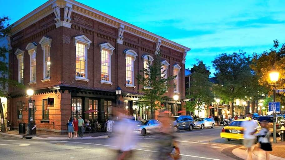 Alexandria's downtown is known for its historic charm and bustling nightlife. (Photo courtesy of Alexandria's Convention and Visitors Association)