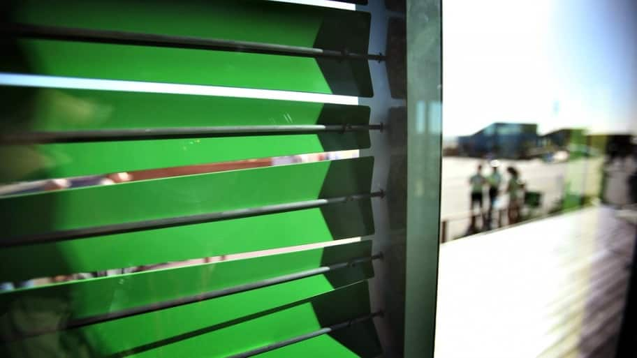 These adaptable shading screens on display at a recent Solar Decathlon event improve energy performance in response to the exterior climate conditions. (Photo courtesy of the U.S. Department of Energy)