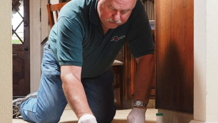 Jeff Van Slooten, owner of Lead Detective Agency, performs a lead clearance test in a client's home. (Photo by Ron Nabity)
