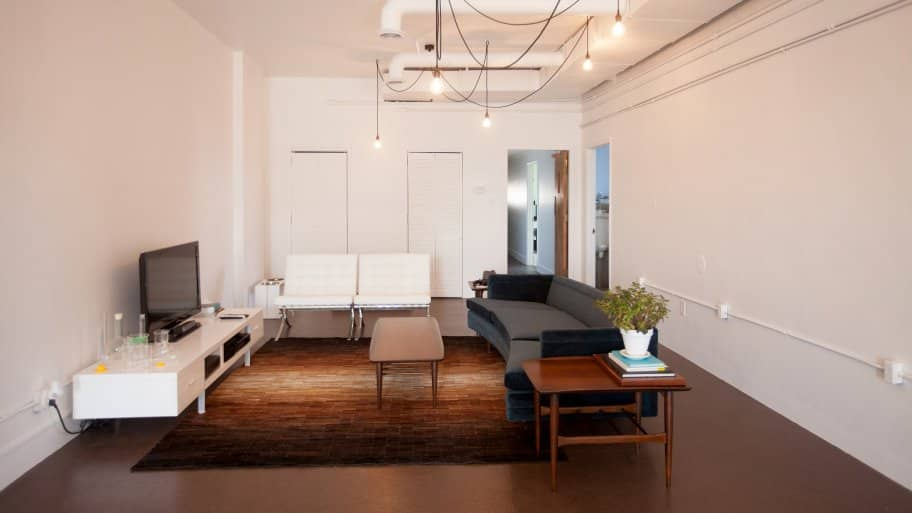 modern furniture and white walls