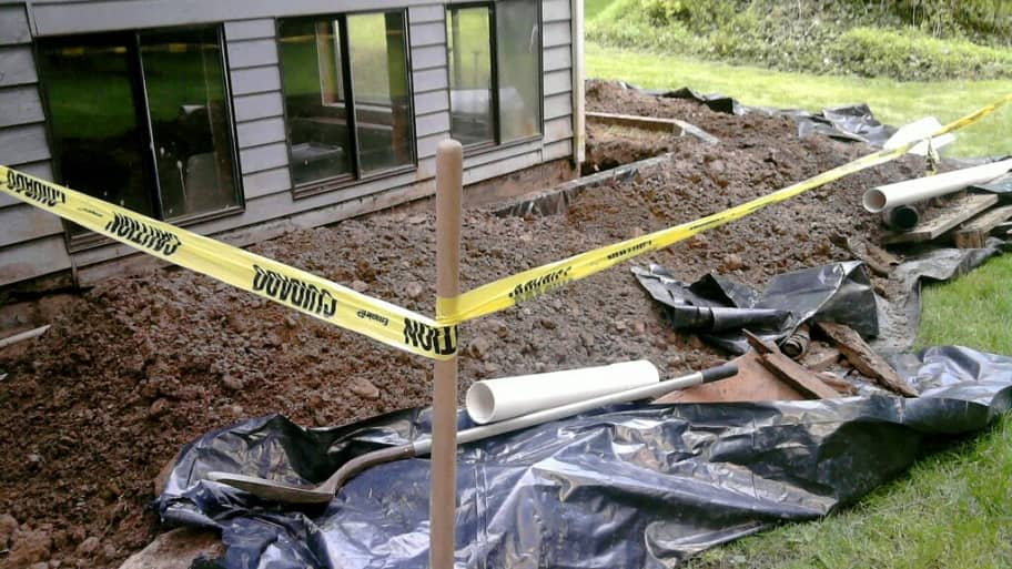 A home's exterior drainage repair