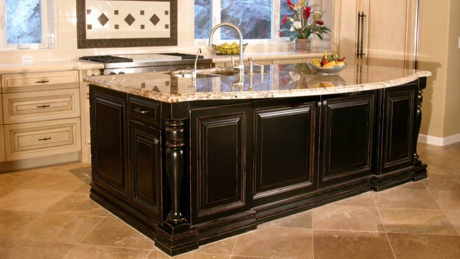 distressed island white cabinets