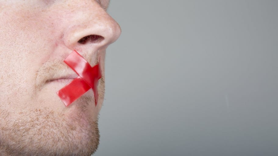 Tape over a mouth