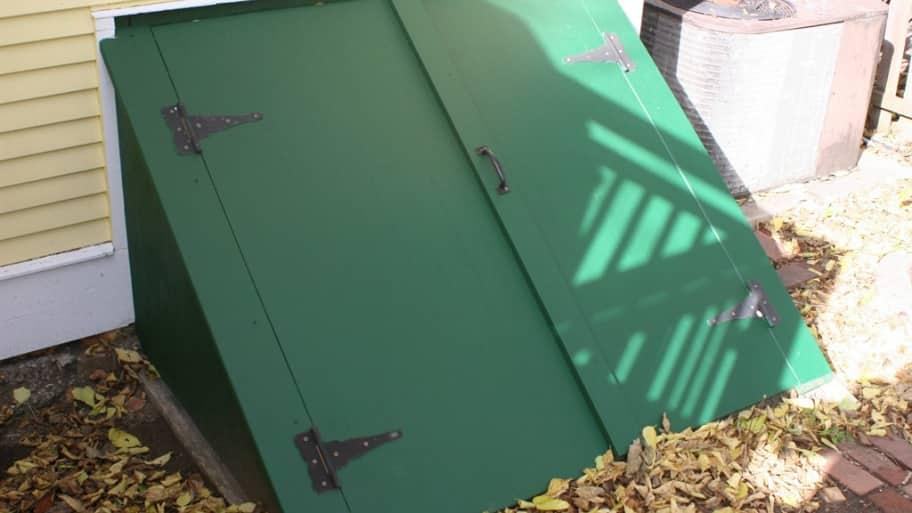 green custom cellar bulkhead door