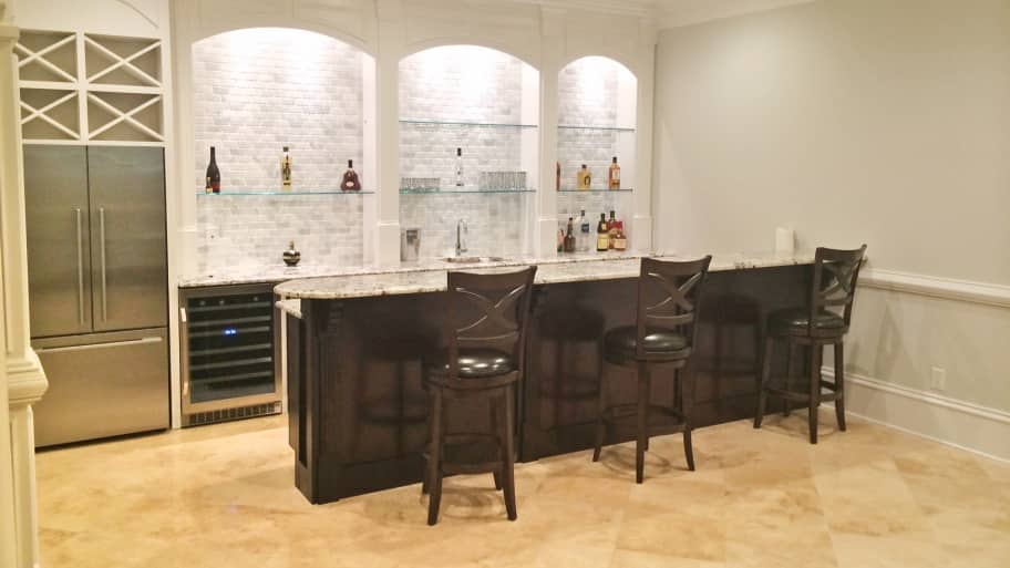 remodeled bar with delicatus granite countertops