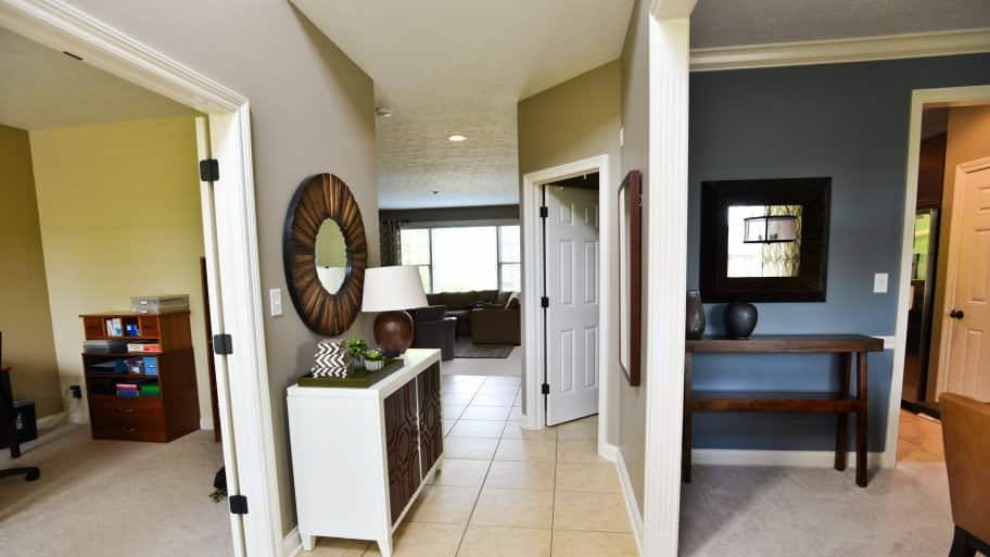 beige painted hallway in home