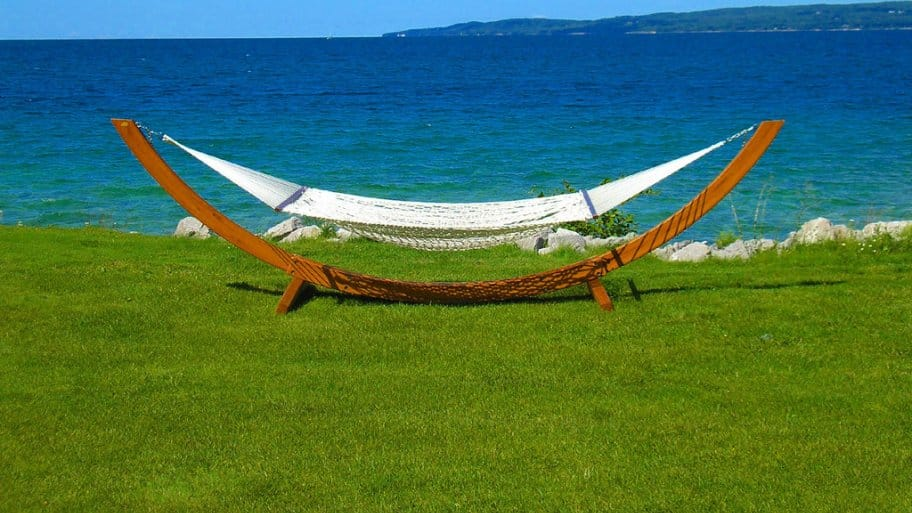 A hammock by the water