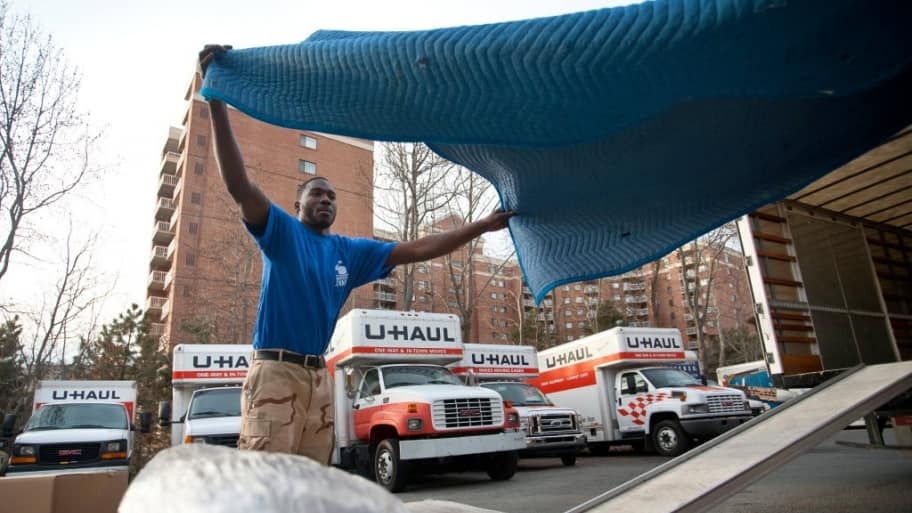 Moving company prepares belongings for a move