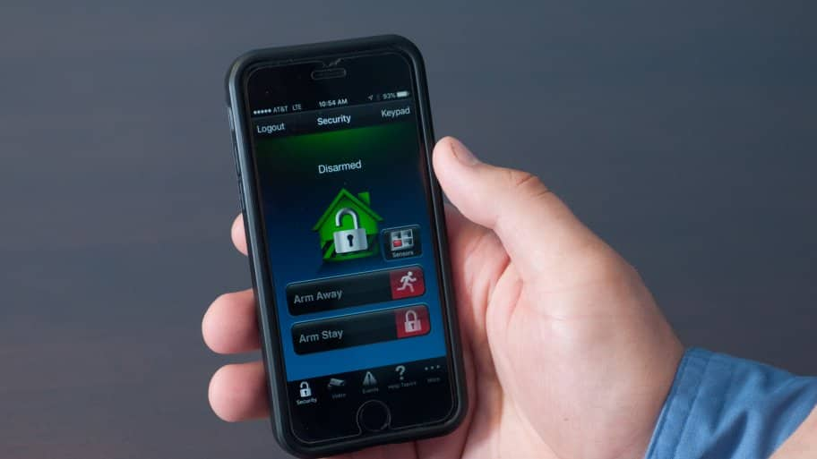 Smartphone with home monitoring app