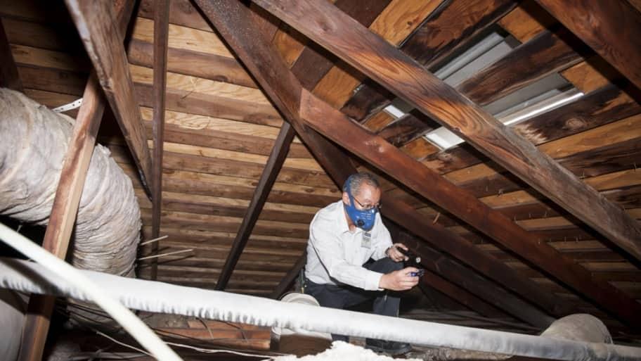 home inspector checking attic