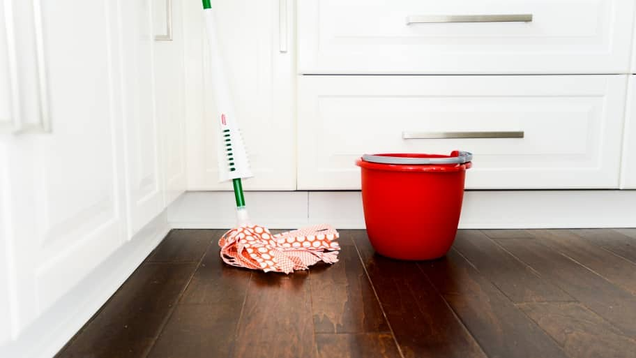 mop and bucket on a hardwood floor