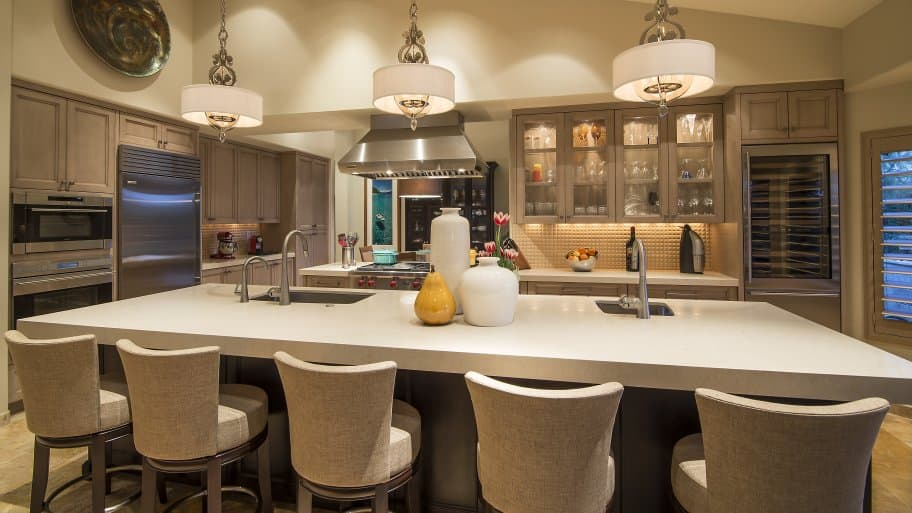 remodeled kitchen with new lighting